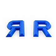 Modellzeichen aus blauem Kunststoff