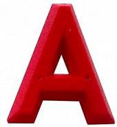 Modellzeichen aus rotem Kunststoff