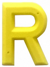 Modellzeichen aus gelbem Kunststoff